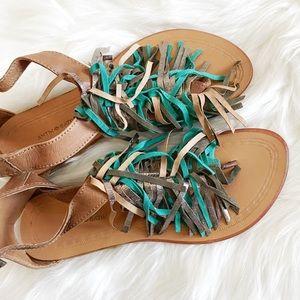 Antik Batik Fringe Tassel Bohemian Thong Sandals